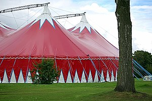 English: Circus tent A circus visits Pittencri...