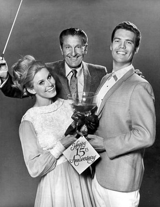 Bobby Burgess - Burgess with dance partner Cissy King and Lawrence Welk, 1969.