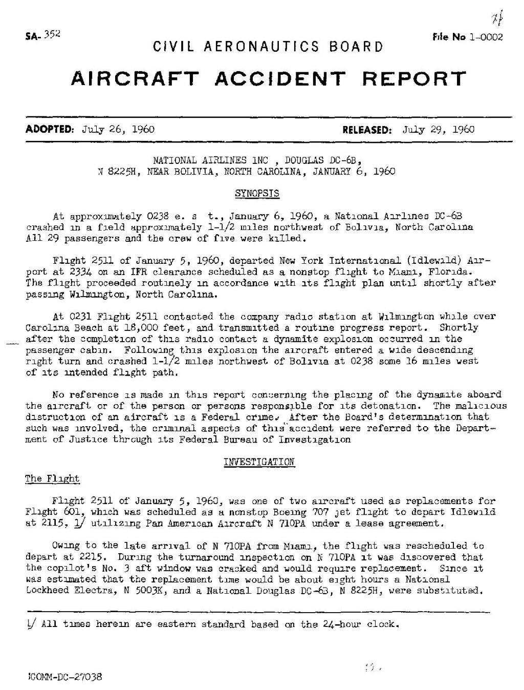 Page Civil Aeronautics Board Accident Investigation Report National