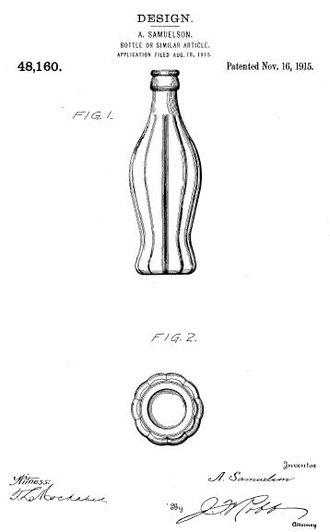 Design patent - US design patent D48,160 for the original Coca-Cola bottle.