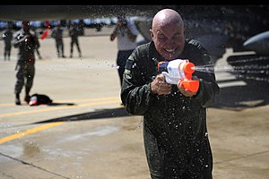 Super Soaker - Airman using a Super Soaker