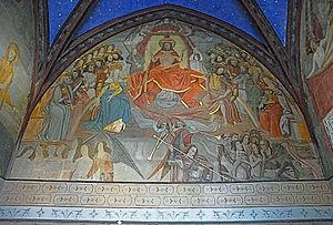 Chinon - Fresco in Collégiale Saint-Mexme church
