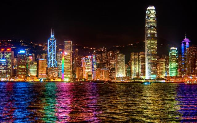 Colorful artificial lighting at night