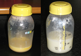 Colostrum - On the left is milk expressed on day 4 of lactation, and on the right is breastmilk expressed on day 8. Colostrum gives the milk a yellow hue.