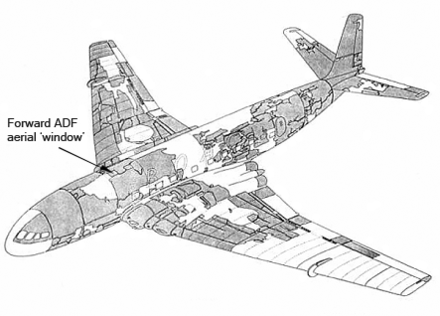 The recovered (shaded) parts of the wreckage of G-ALYP and the site (arrowed) of the failure Comet 1 G-ALYP - wreckage recovered png.png