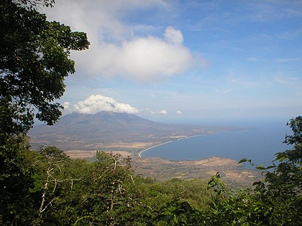 Nicaragua is known as the land of lakes and volcanoes; pictured is Concepcion volcano, as seen from Maderas volcano. Concepcion from Maderas (landscape).jpg