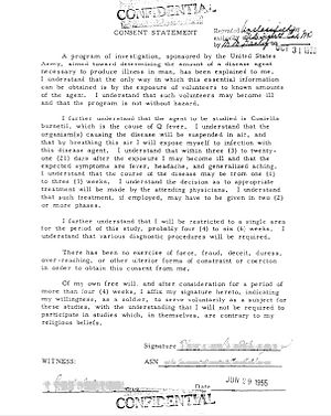 Operation Whitecoat - A Consent Statement (1955) for one of the Operation Whitecoat experiments at Fort Detrick