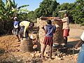 Construction of a brick VIP toilet by pupils (5568028516).jpg