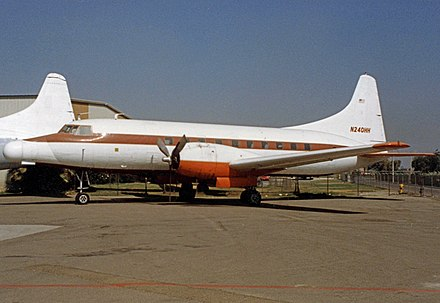 TI operated this Convair 240 on experimental work in the 1980s fitted with a modified extended nose section. Convair 240-1 N240HH Texas Inst Chino 05.10.90R edited-3.jpg