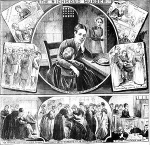 Murder of Julia Martha Thomas - A depiction by The Illustrated Police News of the trial and conviction of Kate Webster