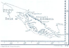 James Cook's 1777 South-Up map of South Georgia