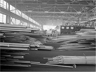 Chase Brass and Copper Company - Conversion. Copper and brass processing. The inside of a large brass and copper tube mill, Chase Brass and Copper Company, Euclid, Ohio, February 1942
