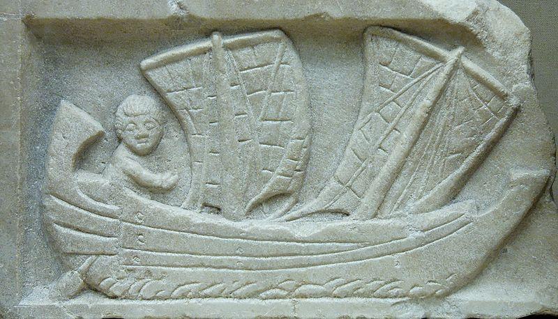 Talla de un pequeño velero encontrada en la antigua Cartago, hacia el 200 a. C.