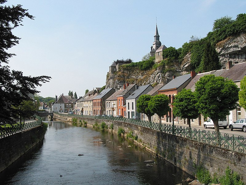 "Couvin (Belgium), the ""rue de la Falaise"" alongside the Eau Noire river."