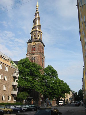 Christianshavn - The Church of Our Saviour (Vor Frelser Kirke) in the Christianshavn city district, Copenhagen, Denmark.  Photo: Niels Elgaard Larsen, 2005.