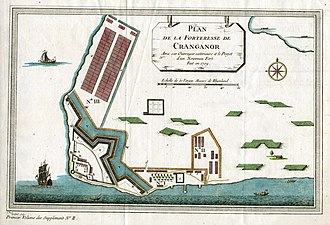 The Portuguese built Cranganore Fort (Portuguese: Fortaleza de Sao Tome de Cranganor ) in 1523, at the beginning of Portuguese rule, which lasted until 1662. Cranganor, Plan de la forteresse de Cranganor. 1709.jpg