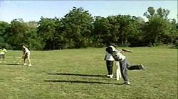 Children playing cricket on a makeshift pitch in a park. It is common in many countries for people to play cricket on such pitches and makeshift grounds.
