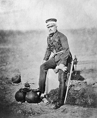 Henry William Barnard - Major General Sir Henry Barnard with some cannonballs