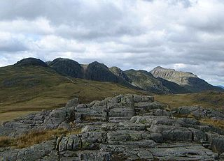 Crinkle Crags fell in the English Lake District in the county of Cumbria