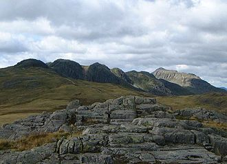Southern Fells - Crinkle Crags (left) and Bowfell from Cold Pike