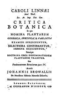 Critica Botanica cover