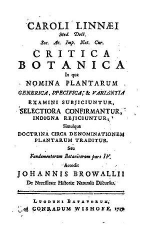 Critica Botanica - Title page of Carl Linnaeus's Critica Botanica of 1737.