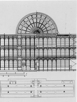 The Crystal Palace - Partial front (left) and rear (right) elevations of the Crystal Palace