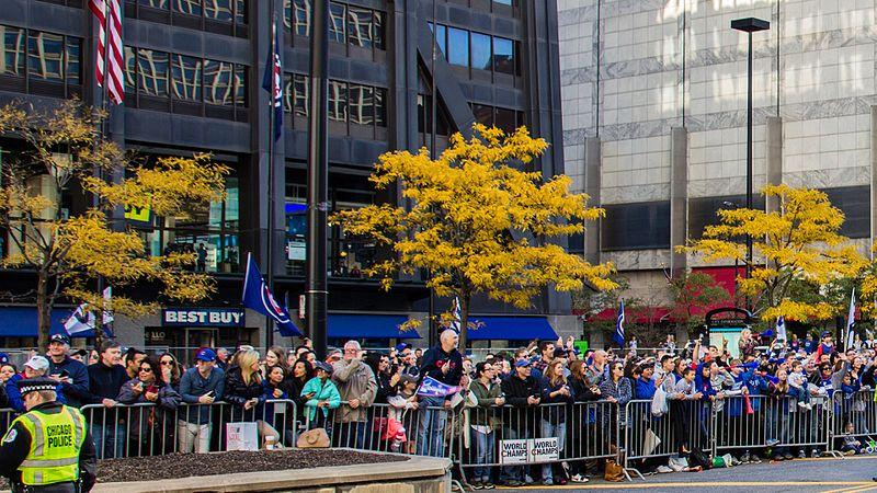 File:Cubs World Series Victory Parade (30477621240) (John Hancock Center plaza).jpg