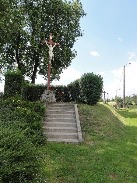 Cuiry-lès-Iviers (Aisne) croix de chemin sortie vers Morgny
