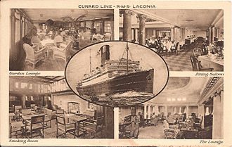 RMS Laconia (1921) - An early postcard depicting the Lounge, the Garden Lounge, the Dining Salon, and the Smoking Room on the Laconia