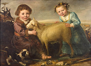 Two children with a lamb