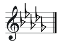 D flat major key signature on treble clef.png