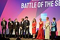 Danny Boyle, Simon Beaufoy, Valerie Faris, Jonathan Dayton, Elisabeth Shue, Andrea Riseborough, Emma Stone and Billie Jean King at Battle of the Sexes, London (36847677594).jpg