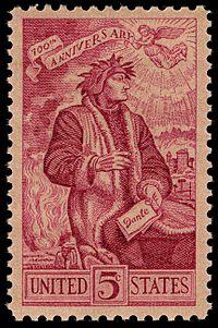 Dante 5c 1965 issue U.S. stamp