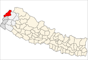 Darchula District i Mahakali Zone (grå) i Far-Western Development Region (grå + lysegrå)