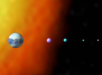 Darkover - The above illustration shows Darkover as the planet on the left with its four moons: Liriel, Kyrrdis, Idriel and Mormallor. In the background is a representation of the Cottman red giant star.