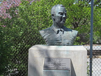David M. Nelson - A bust of David M. Nelson at Delaware Stadium and plaque commemorating his record as head coach, National Championship, and College Football Hall of Fame induction.