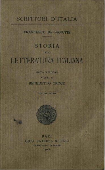 File:De Sanctis, Francesco – Storia della letteratura italiana, Vol. I, 1912 – BEIC 1806199.pdf