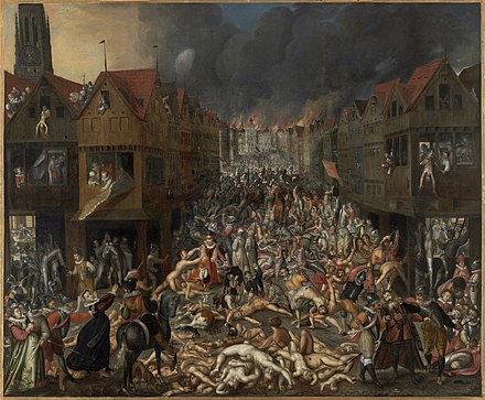 The Dutch Revolt spread to the south in the mid-1570s after Spanish troops mutinied for lack of pay and went on the rampage in Antwerp, destroying 1,000 houses and slaughtering 17,000 people. Military terror defeated the Flemish movement, and restored Spanish rule in Belgium. De Spaanse Furie, anoniem, ca 1585, MAS.jpg