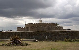Deal Castle - The castle from the east, showing the outer bastions, inner bastions, keep and lantern