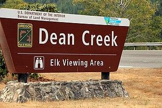 Dean Creek Elk Viewing Area - Image: Dean Creek Sign
