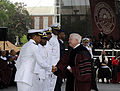 Defense.gov News Photo 100516-F-6655M-005 - Secretary of Defense Robert M. Gates congratulates newly commissioned sailors and airmen after delivering the Oath of Office to them at Morehouse.jpg