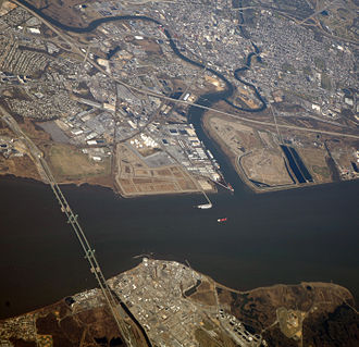 Delaware Memorial Bridge - Delaware Memorial Bridge aerial, 2012. Wilmington, Delaware is at top right of photo.