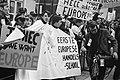 Demonstraties bij het Binnenhof Den Haag tijdens EEG-conferentie. Een Franse dem, Bestanddeelnr 923-0372.jpg