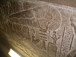 "Dendera light - The ""Dendera light"", showing the single representation on the left wall of the right wing in one of the crypts"
