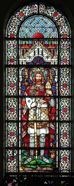 Olaf II of Norway - St. Olaf in stained glass window at Ålesund Church