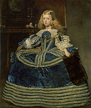 Margarita Teresa wears a solemn expression and blue silk dress adorned with silver borders. The dress's expansive crinoline is accentuated by the trimmed borders and wide lace collar.