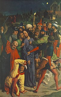 Dieric Bouts - The Arrest of Christ with kiss of Judas and ear of Malchus ca1485.jpg