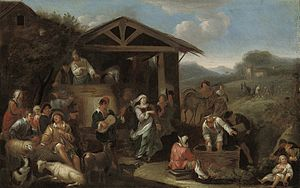 Dirck Helmbreker - An Italianate landscape with peasants making merry and pressing grapes.