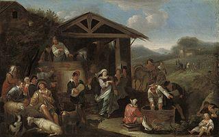 Italianate landscape with peasants
